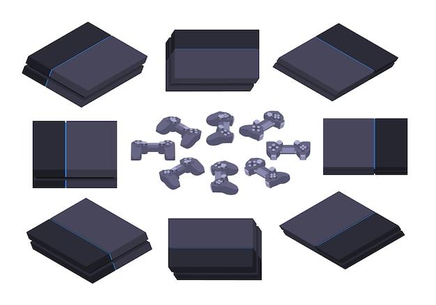 Conjunto dos consoles de jogos nextgen preto isométricos