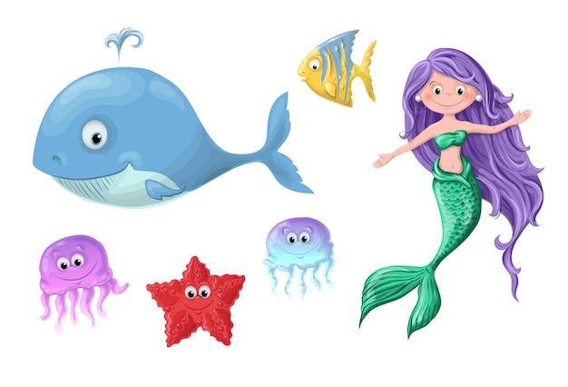 Conjunto dos desenhos animados bonitos habitantes náuticos - uma sereia