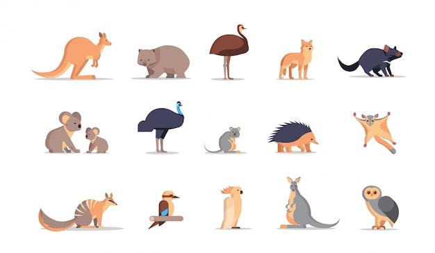 Conjunto dos desenhos animados coleção de animais selvagens australianos ameaçados de extinção fauna selvagem fauna conceito plana horizontal