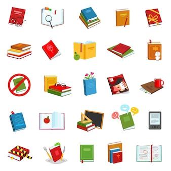 Conjunto dos desenhos animados ícone biblioteca livro e dicionário.