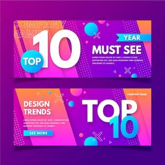 Conjunto dos dez principais banners de classificação