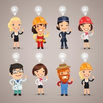 Conjunto dos diferentes personagens de profissão
