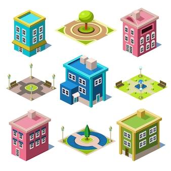 Conjunto dos edifícios da cidade isométrica e lojas
