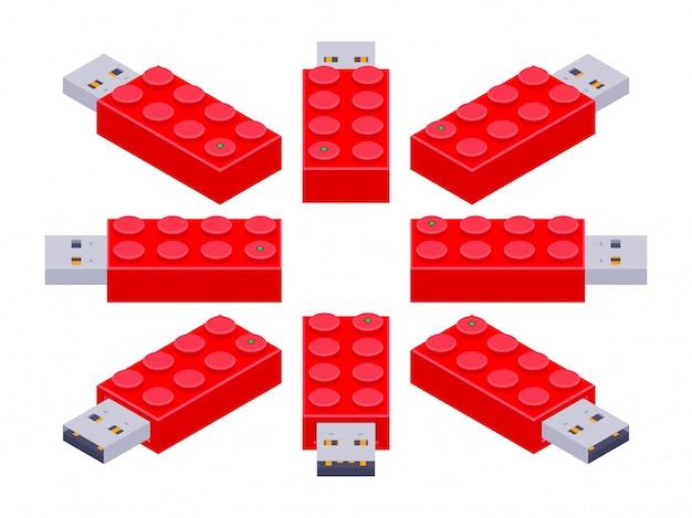 Conjunto dos flash drives usb isométricos em uma forma dos tijolos do construtor