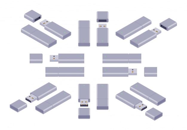 Conjunto dos flash drives usb isométricos