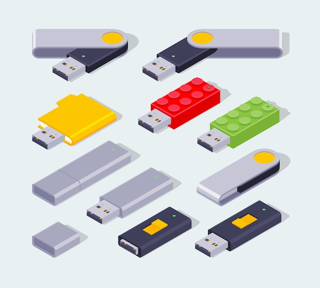 Conjunto dos flash drives usb isométricos