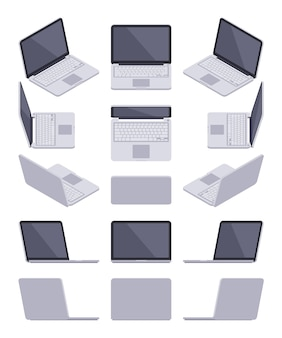 Conjunto dos laptops cinza isométricos