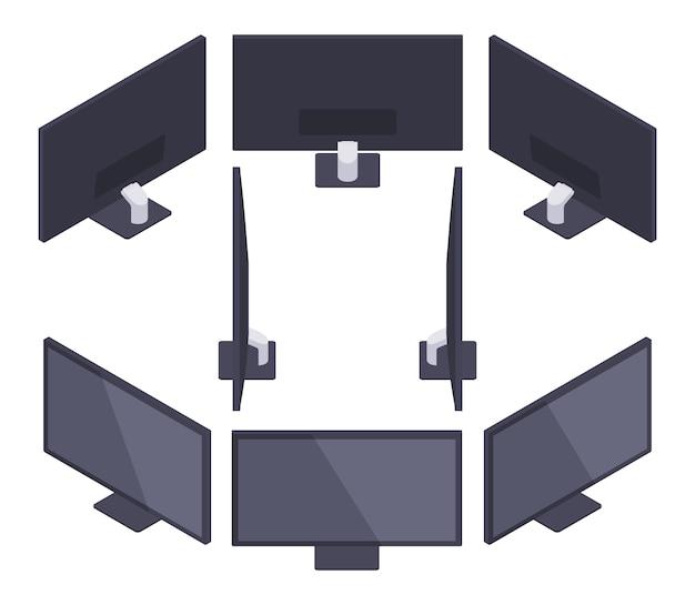 Conjunto dos monitores hd isométricos