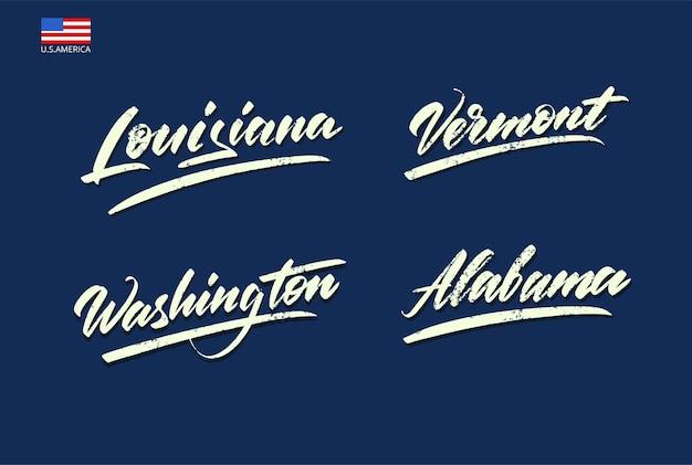 Conjunto dos nomes dos estados da américa, escritos com um pincel. ilustração vetorial
