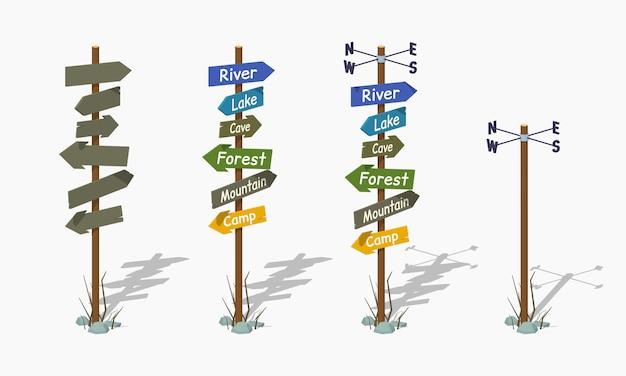 Conjunto dos polos de navegação isométricos lowpoly 3d