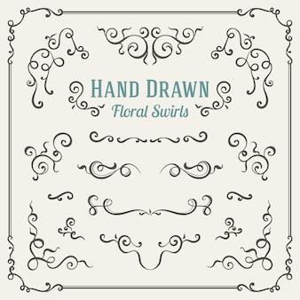Conjunto dos redemoinhos florais mão desenhada