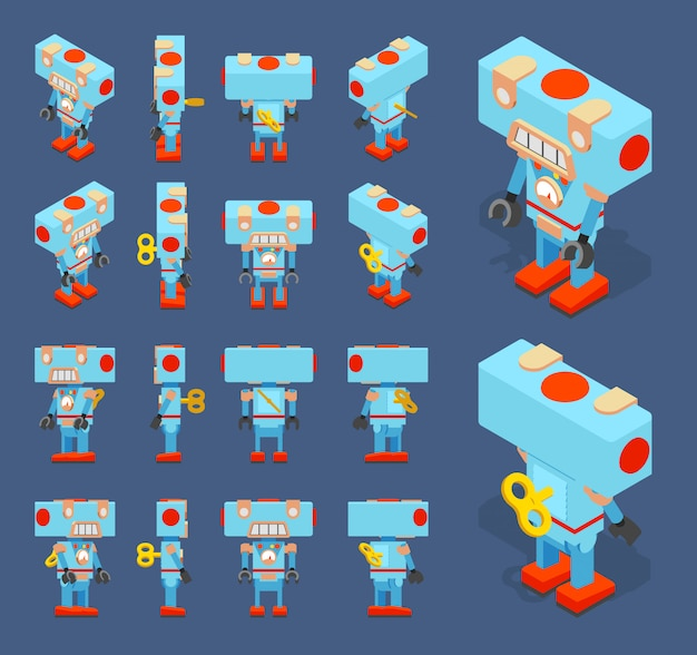 Conjunto dos robôs de brinquedo azul isométrica