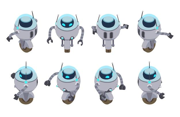 Conjunto dos robôs futuristas isométricos.