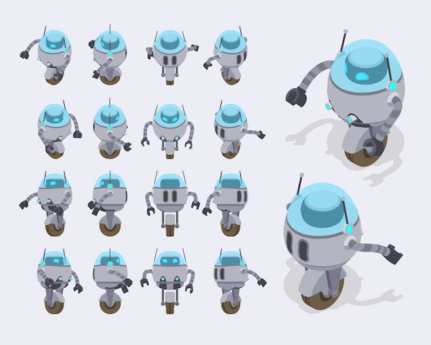 Conjunto dos robôs futuristas isométricos