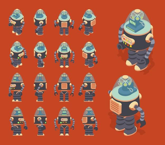 Conjunto dos robôs retrô isométricos