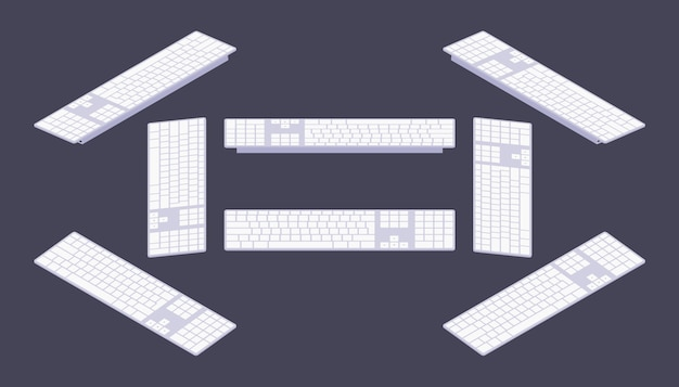 Conjunto dos teclados de pc isométricos