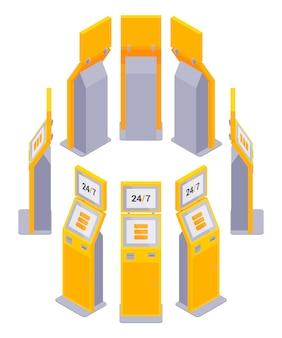 Conjunto dos terminais de pagamento isométrico