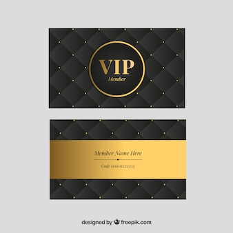 Conjunto dourado de cartões clássicos vip