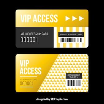 Conjunto dourado de cartões de acesso vip