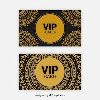 Conjunto dourado de cartões vip com estilo tribal