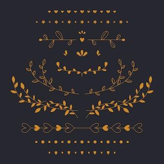 Conjunto dourado de folhas