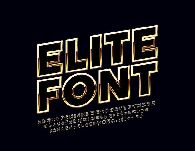 Conjunto dourado de letras, números e símbolos chiques. fonte elite girada.