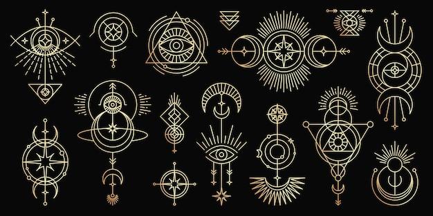 Conjunto dourado de símbolos mágicos místicos. objetos de linha do ocultismo espiritual estilo minimalista moderno.