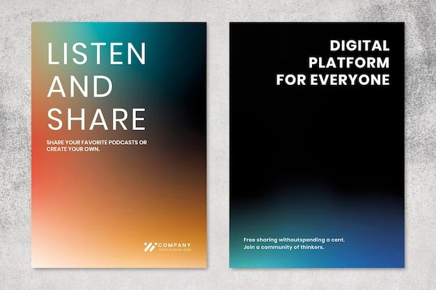 Conjunto duplo de pôster de vetor de modelo de marketing de tecnologia gradiente