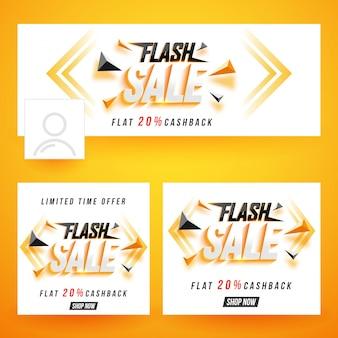 Conjunto e conjunto de cabeçalho de mídia social do flash sale.