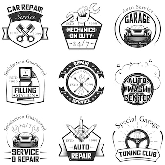 Conjunto e emblemas vintage de logotipos de serviço de carro