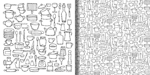 Conjunto e padrão sem emenda de rabiscos de cozinha desenhados à mão papel de parede de equipamentos de objetos de cozinha