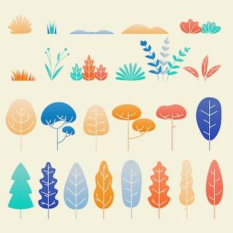Conjunto e plano de folhas e plantas de outono