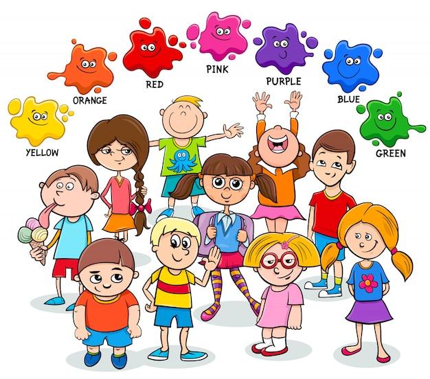 Conjunto educacional de cores básicas com crianças felizes