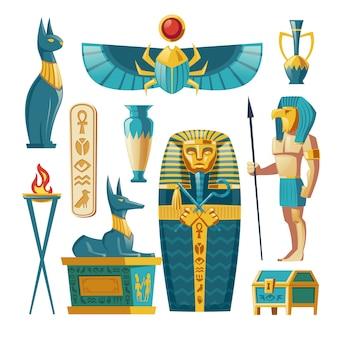 Conjunto egípcio - faraó sarcófago, antigos deuses e outros símbolos da cultura.