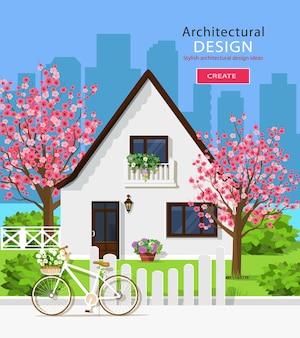Conjunto elegante com casa, jardim verde, árvores de sakura, cerca, bicicleta, flores e fundo da cidade.