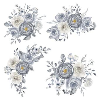 Conjunto elegante de arranjo de aquarela em branco e azul marinho