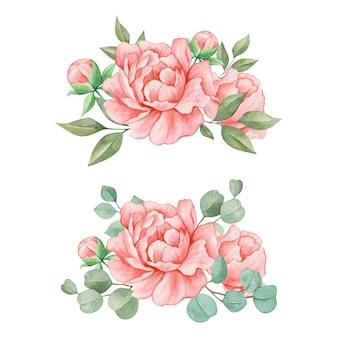 Conjunto elegante de buquê de flores botânicas em aquarela