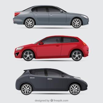 Conjunto elegante de carros modernos