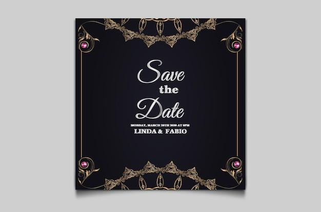 Conjunto elegante de cartão de convite de casamento para salvar a data