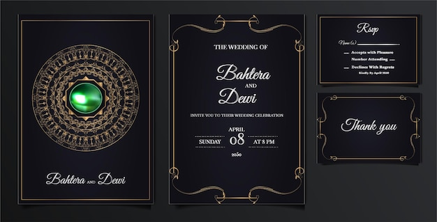 Conjunto elegante de cartões de convite de casamento