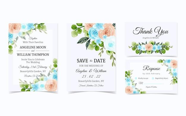 Conjunto elegante de convite de casamento de rosas azuis e pêssego