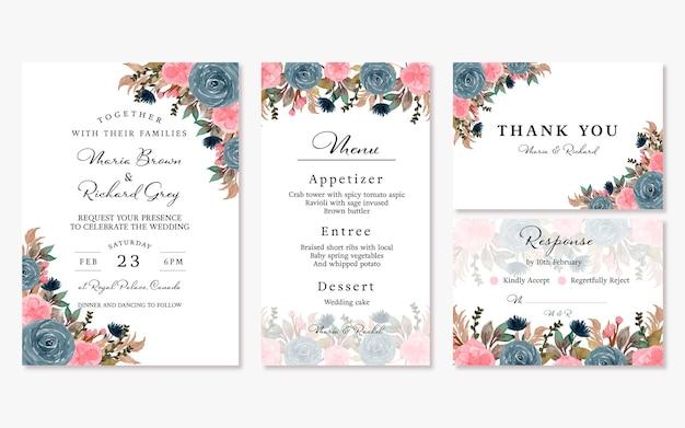 Conjunto elegante de convite de casamento floral vintage rosa azul