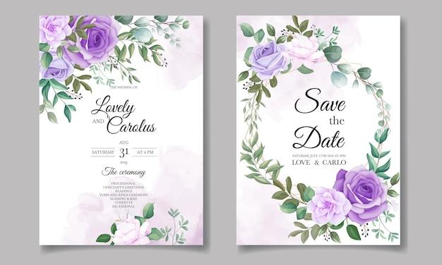 Conjunto elegante de convites de casamento com lindos florais roxos