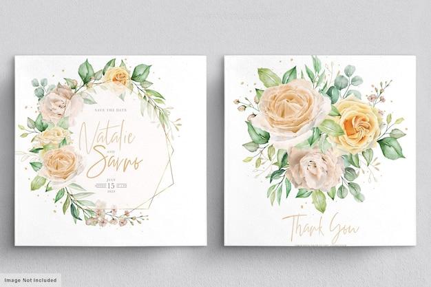 Conjunto elegante de coroas e buquês florais desenhados à mão em aquarela