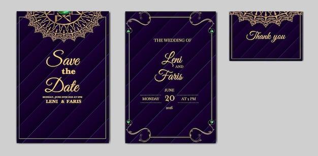Conjunto elegante de design de cartão de convite de casamento para salvar a data