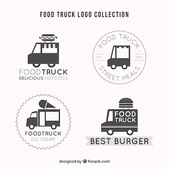 Conjunto elegante de logotipos retro de caminhão de alimentos