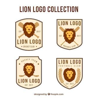 Conjunto elegante de logotipos retro de leão