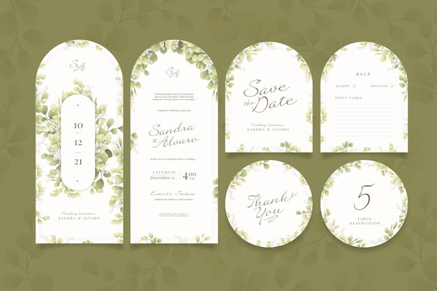Conjunto elegante de papelaria para casamento