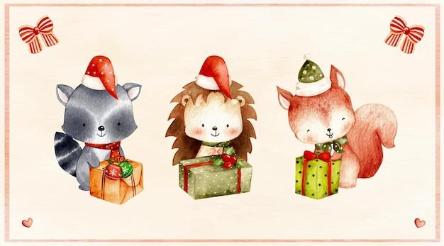 Conjunto em aquarela de animal da floresta de natal com presente