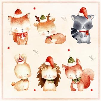 Conjunto em aquarela de animal da floresta de natal